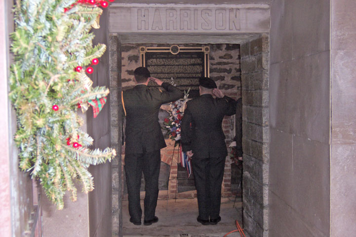 The presentation of the wreath from the President.